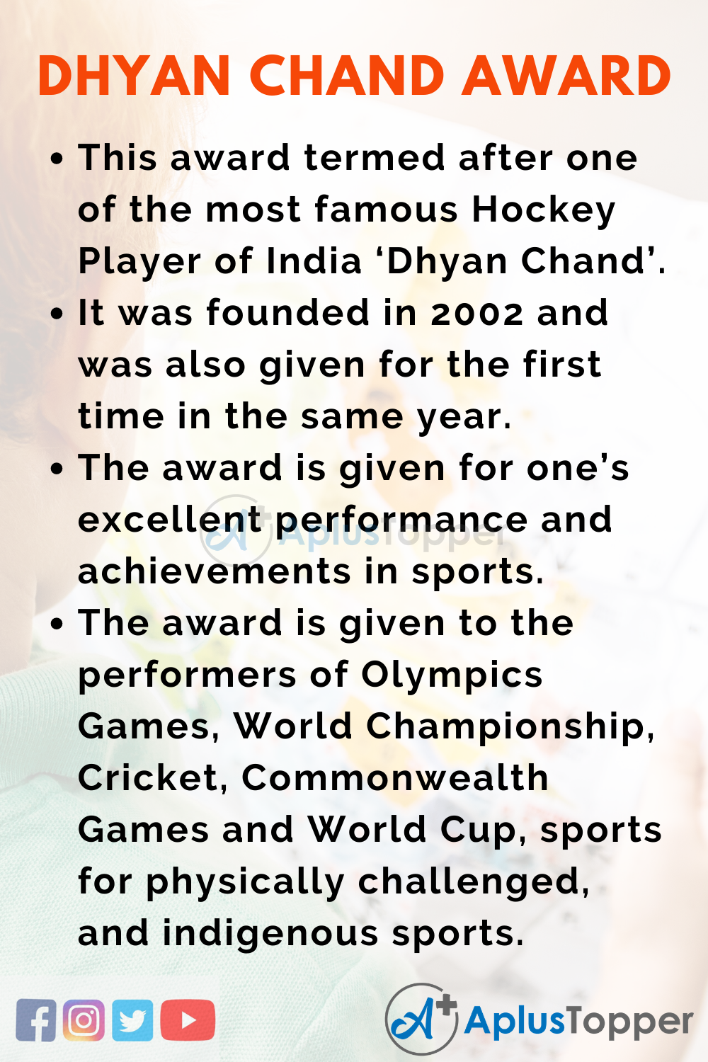 10 Lines about Dhyan Chand Award