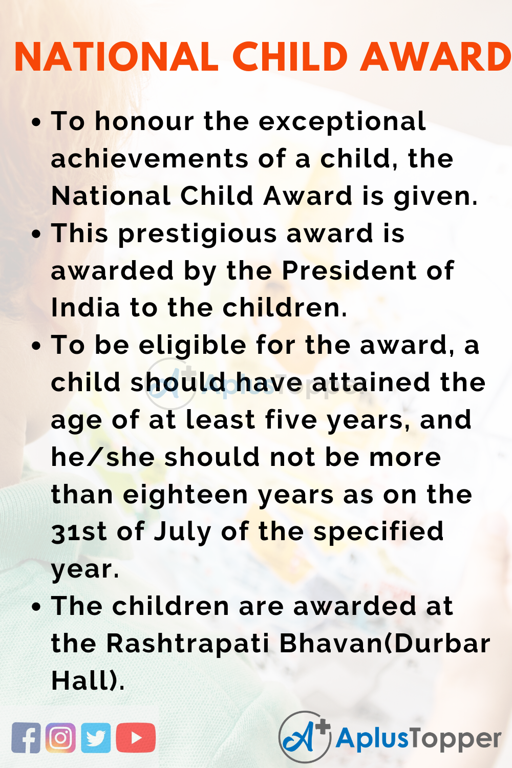 10 Lines about National Child Award for Exceptional Achievements