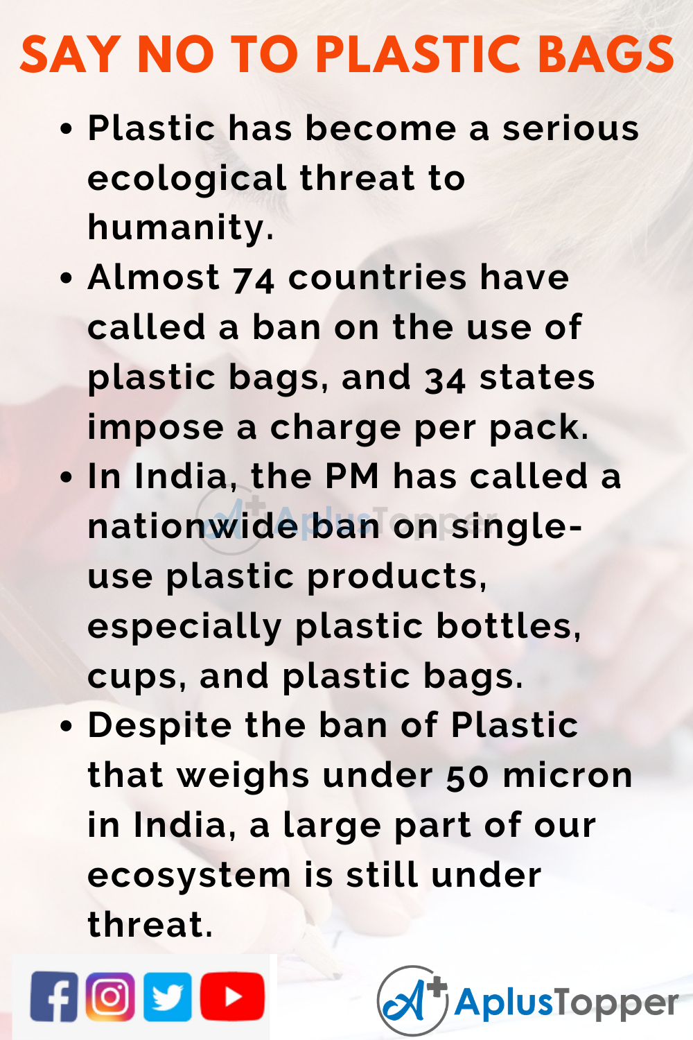 10 Lines about Say No to Plastic Bags