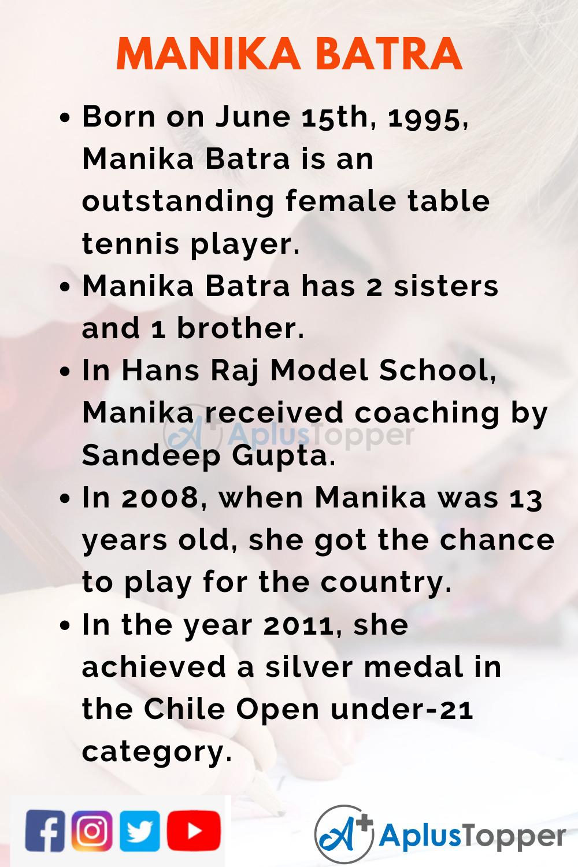 10 Lines for Manika Batra