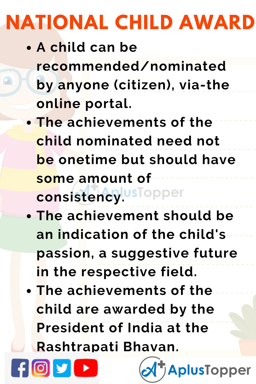 10 Lines for National Child Award for Exceptional Achievements