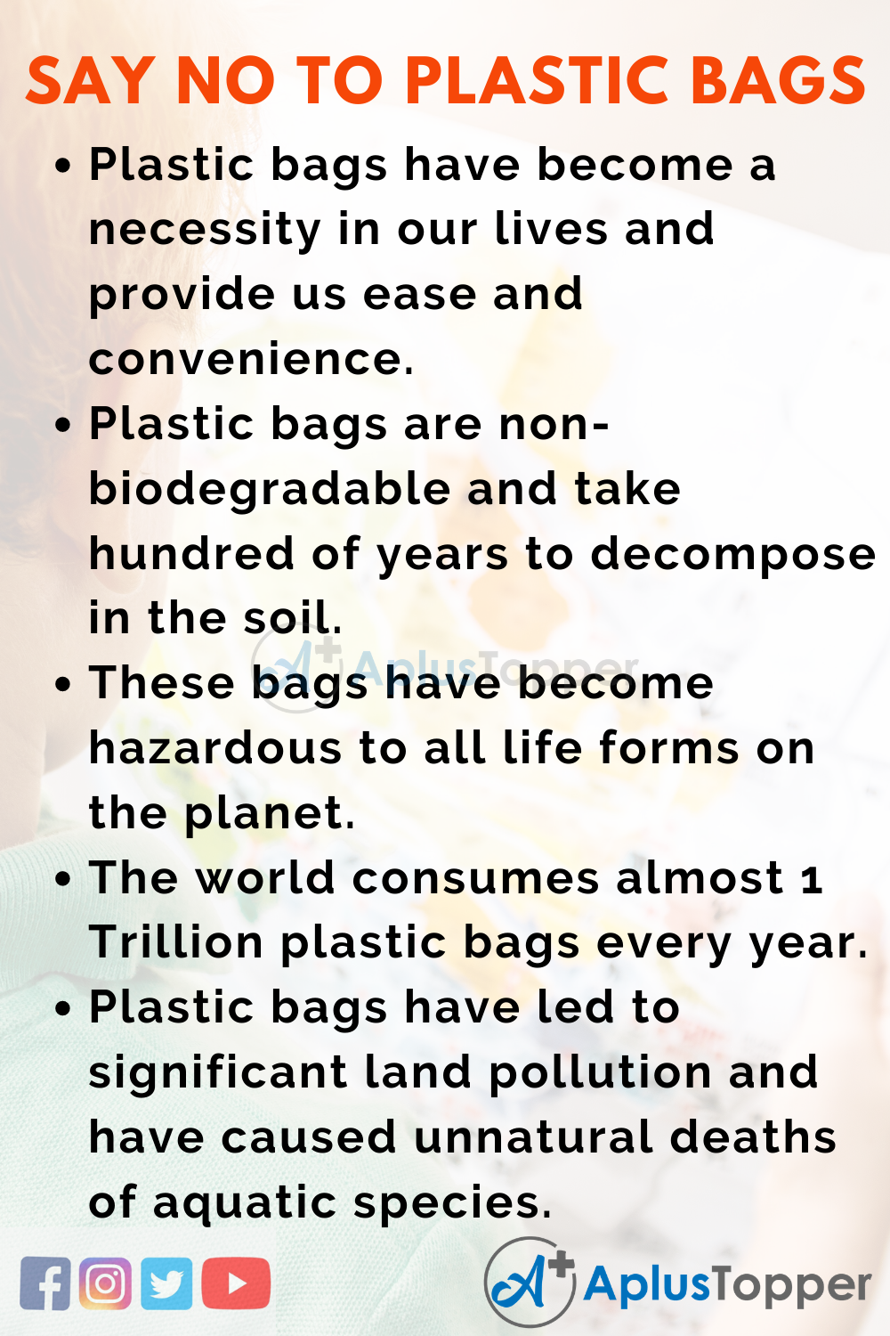 10 Lines for Say No to Plastic Bags