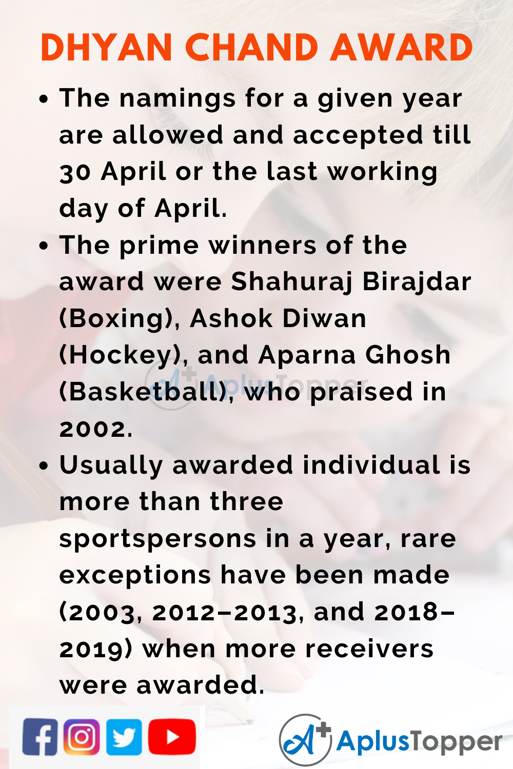 10 Lines of Dhyan Chand Award