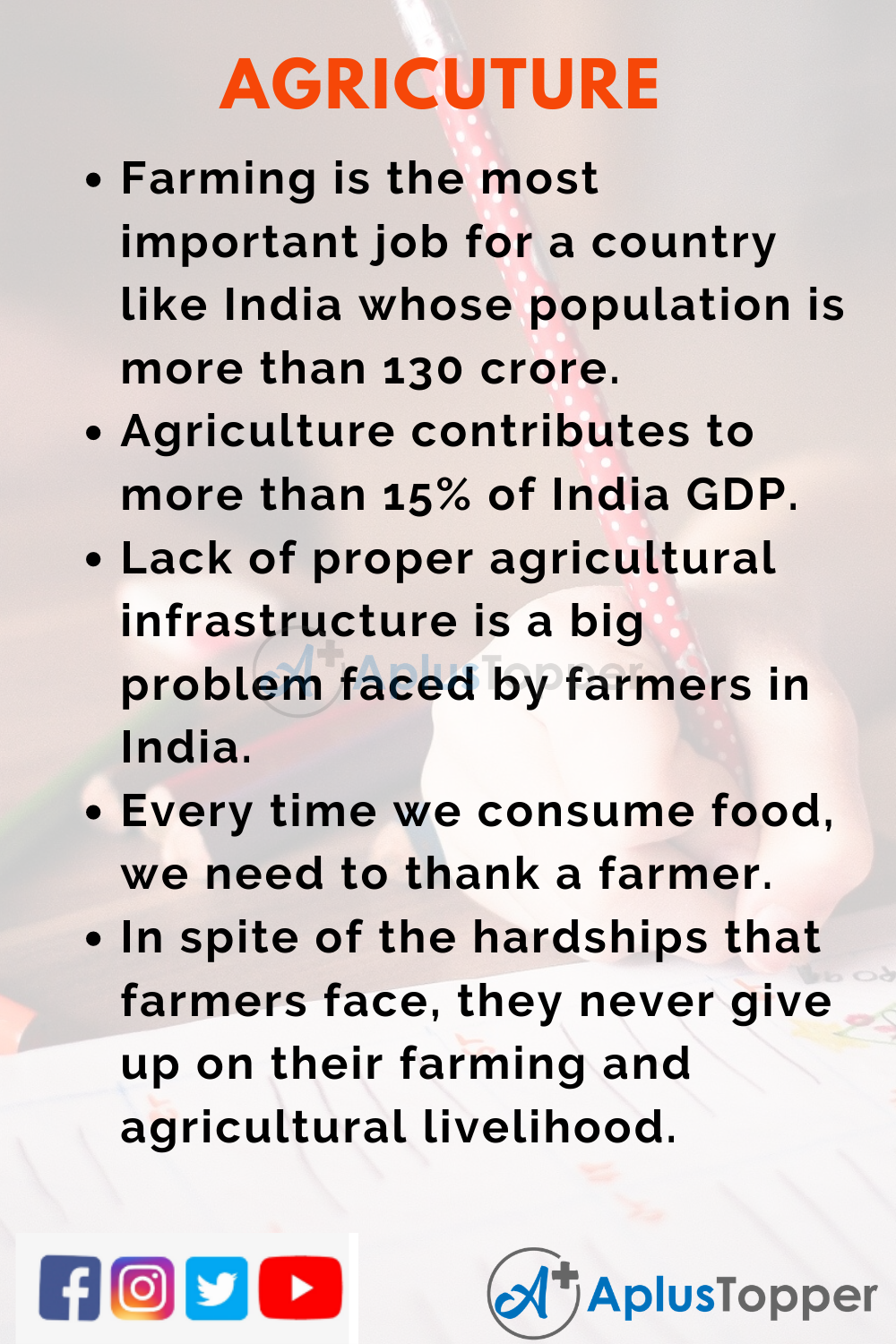 10 Lines on Agriculture for Kids