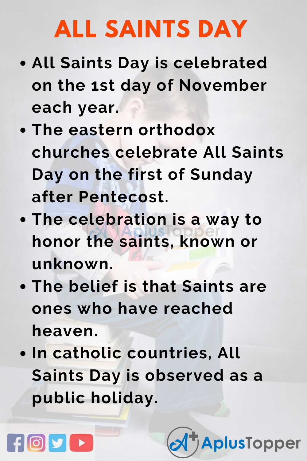 10 Lines on All Saints Day for Higher Class Students