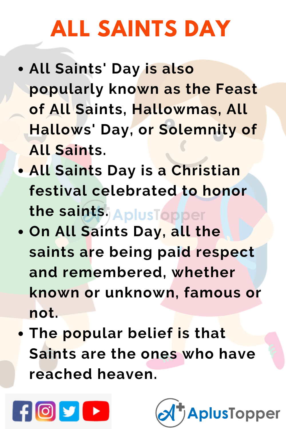 10 Lines on All Saints Day for Kids