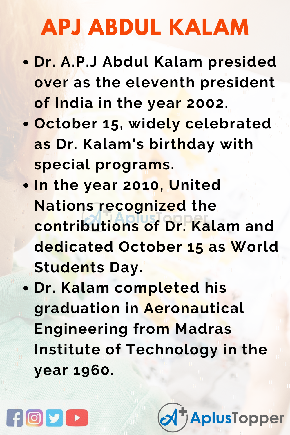 10 Lines on Birth Anniversary of A.P.J Abdul Kalam for Kids