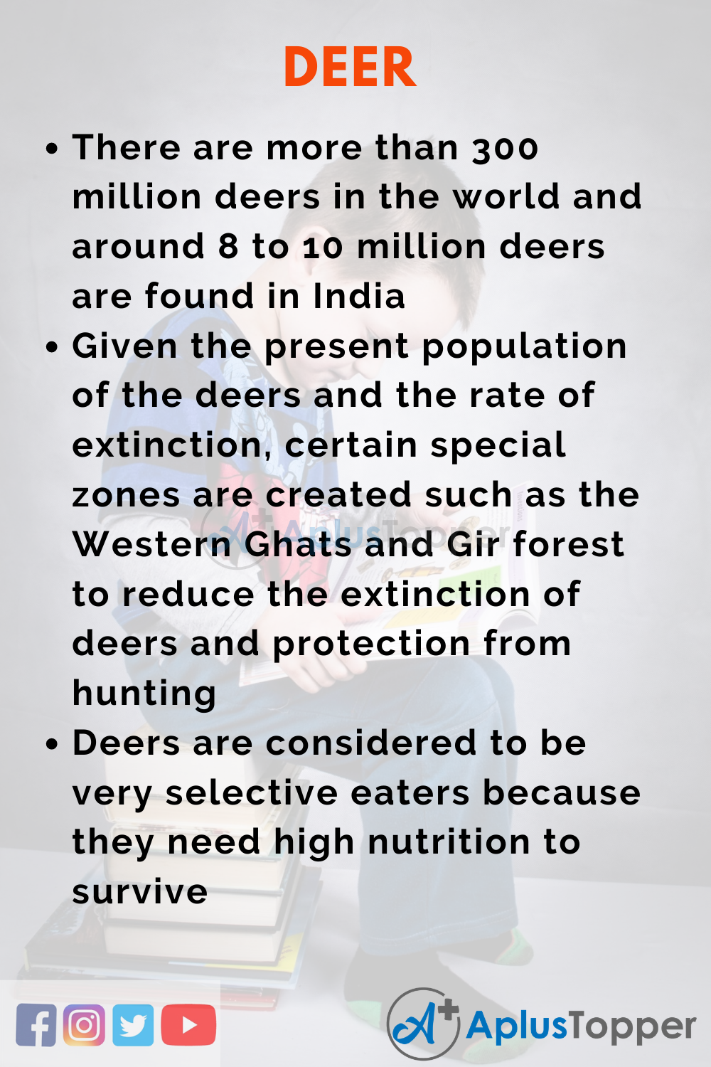 10 Lines on Deer for Higher Class Students