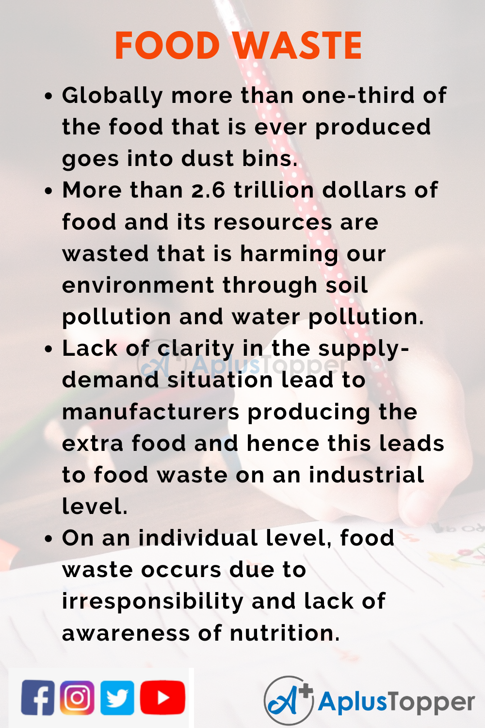 10 Lines on Food Waste for Higher Class Students