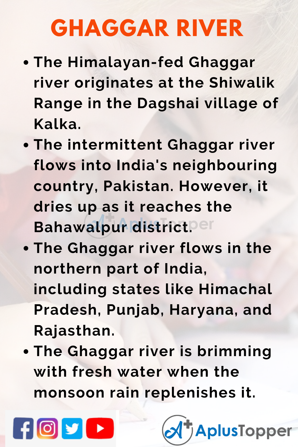 10 Lines on Ghaggar River for Higher Class Students