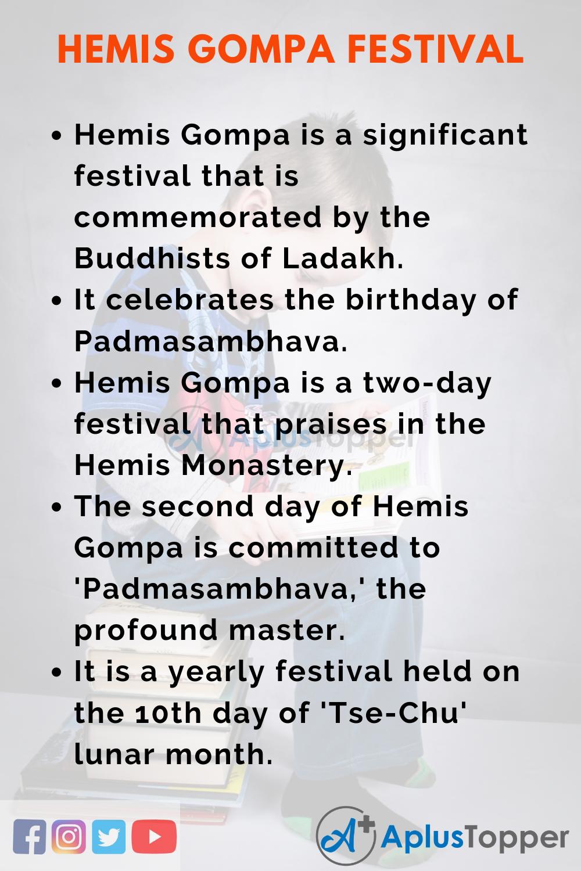 10 Lines on Hemis Gompa Festival for Kids