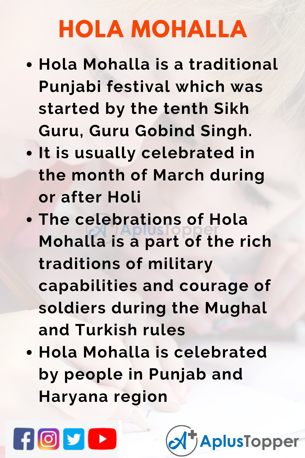 10 Lines on Hola Mohalla for Kids