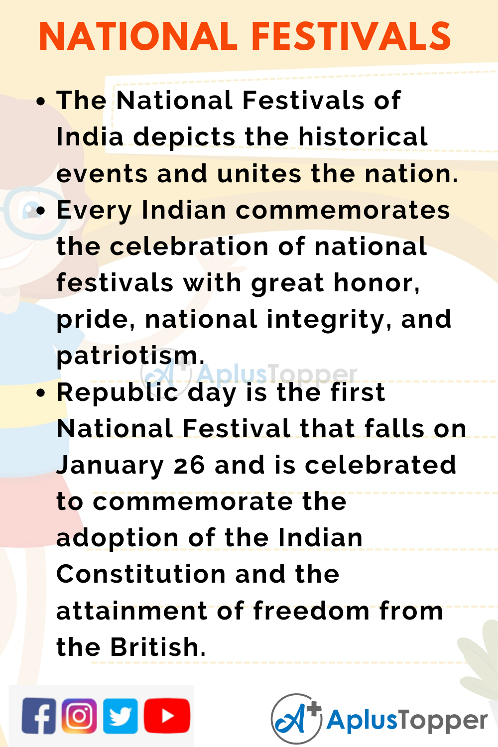 10 Lines on Importance of National Festivals of India for Higher Class Students