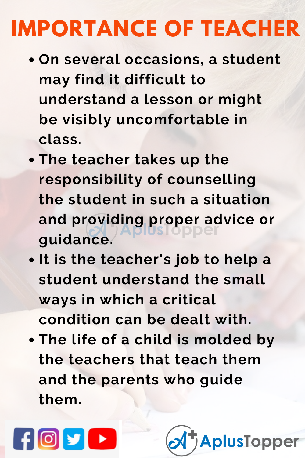 10 Lines on Importance of Teacher for Higher Class Students