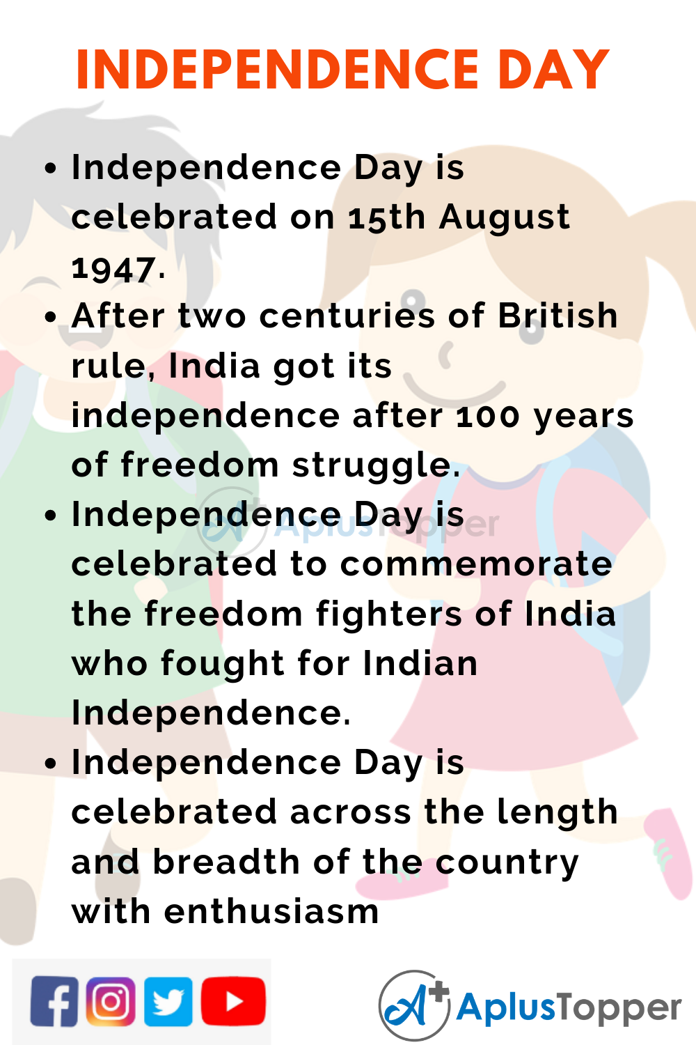 10 Lines on Independence Day for Kids