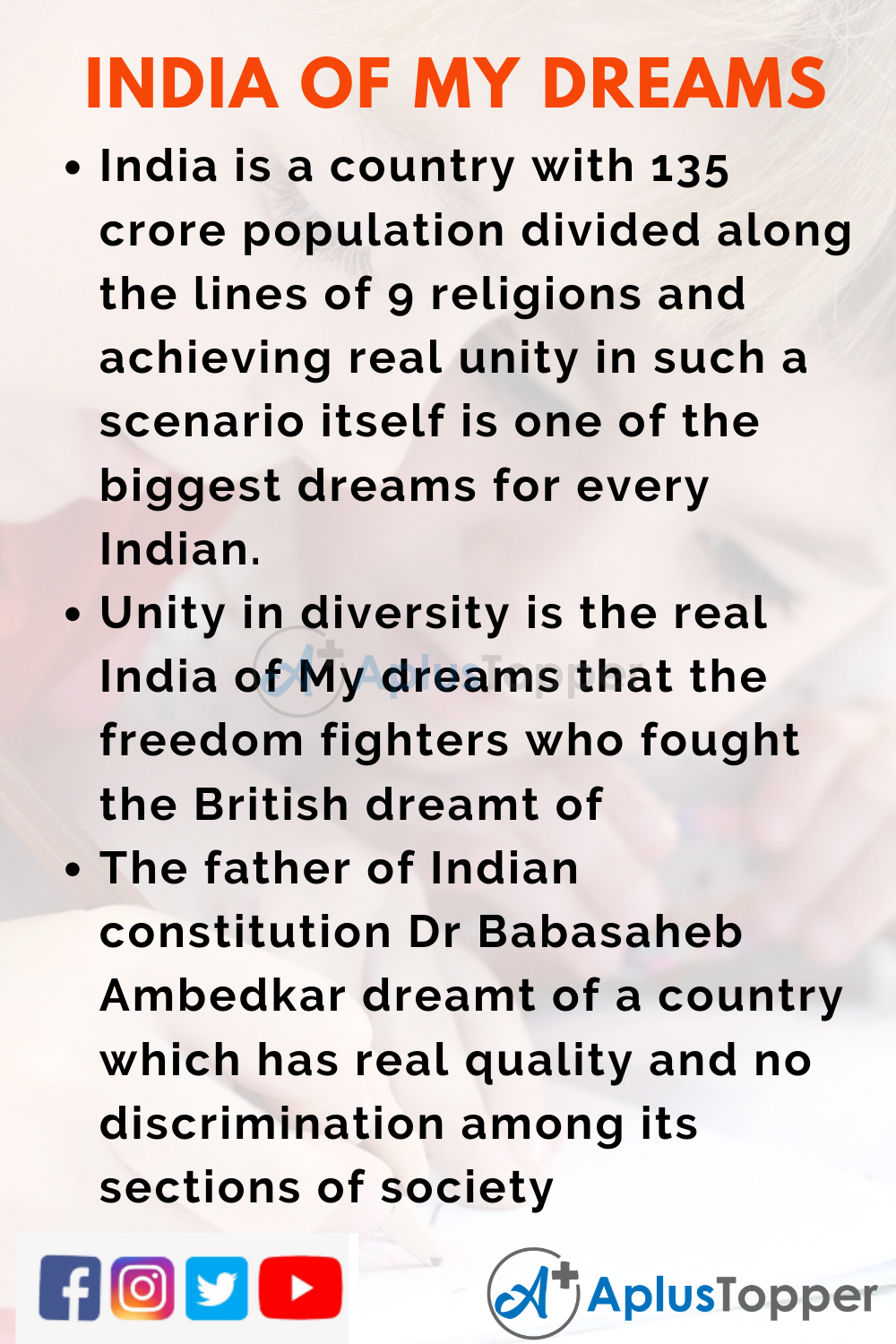 10 Lines on India of My Dreams for Higher School Students
