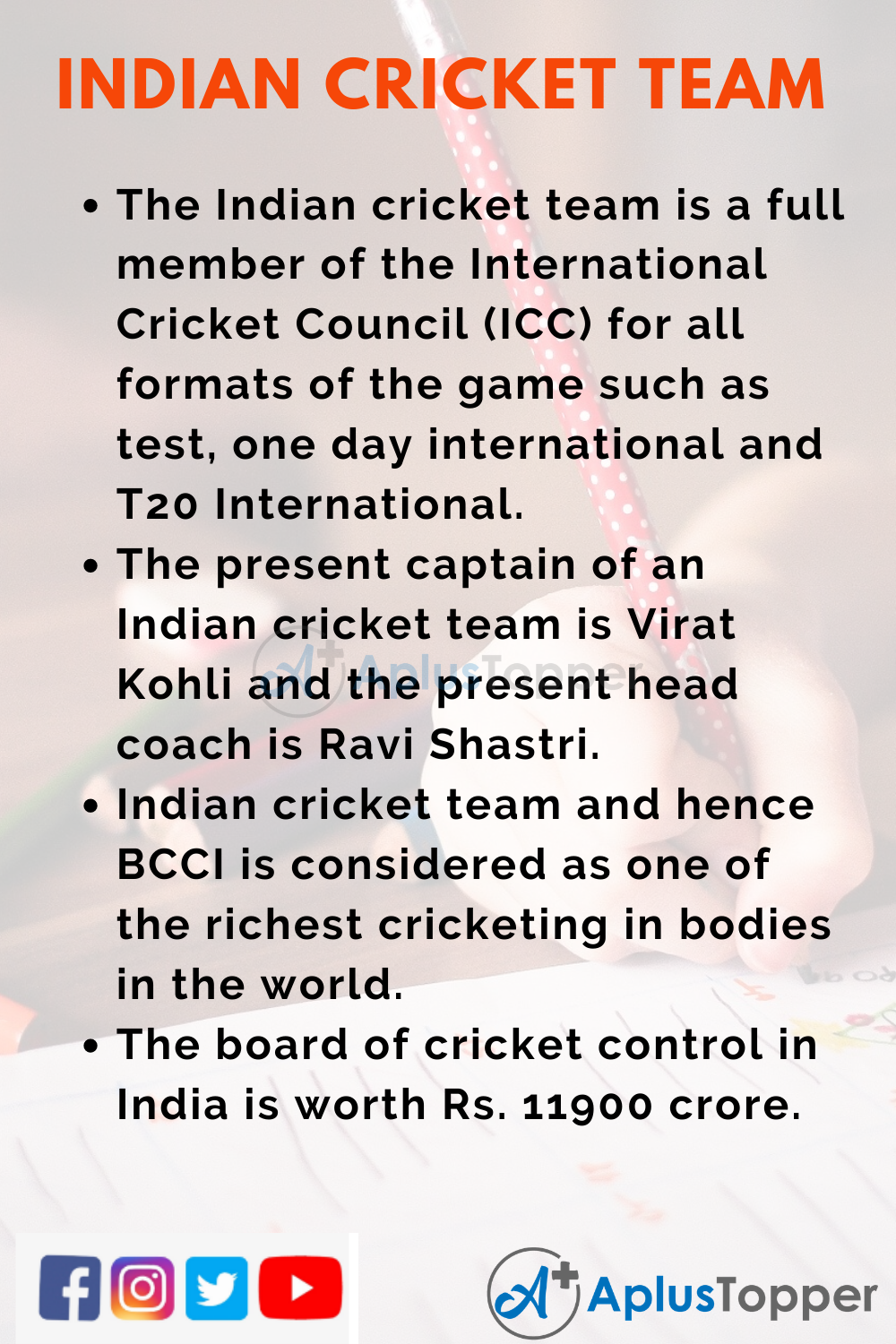 10 Lines on Indian Cricket Team for Higher Class Students