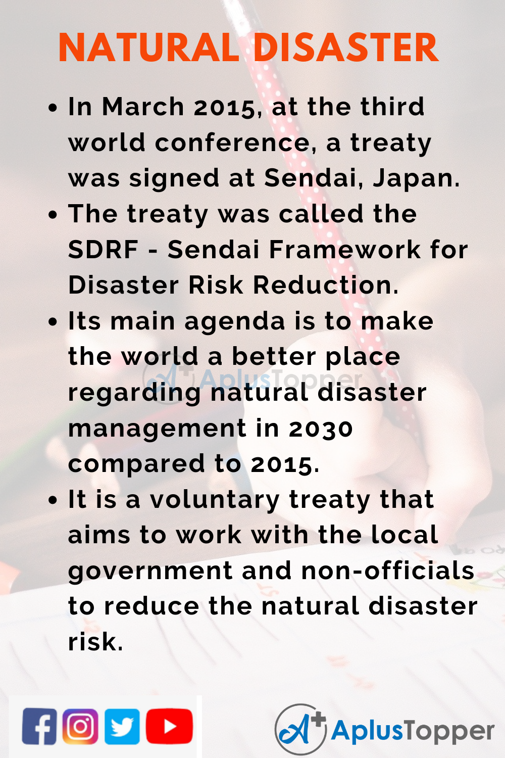 10 Lines on International Day for Natural Disaster Reduction for Higher Class Students
