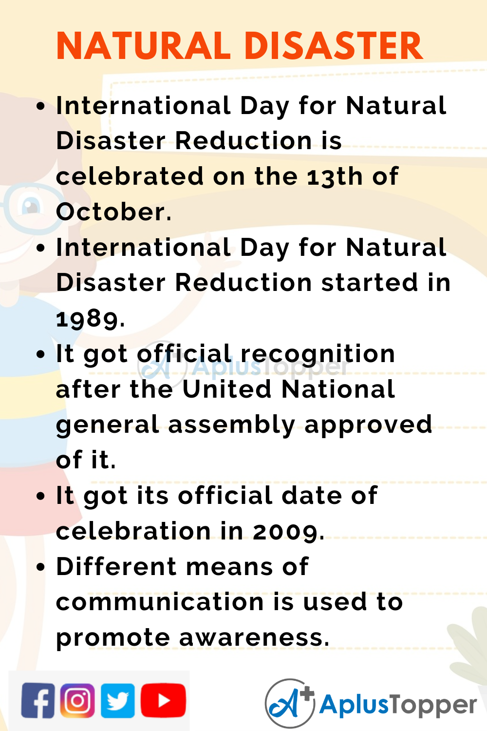 10 Lines on International Day for Natural Disaster Reduction for Kids