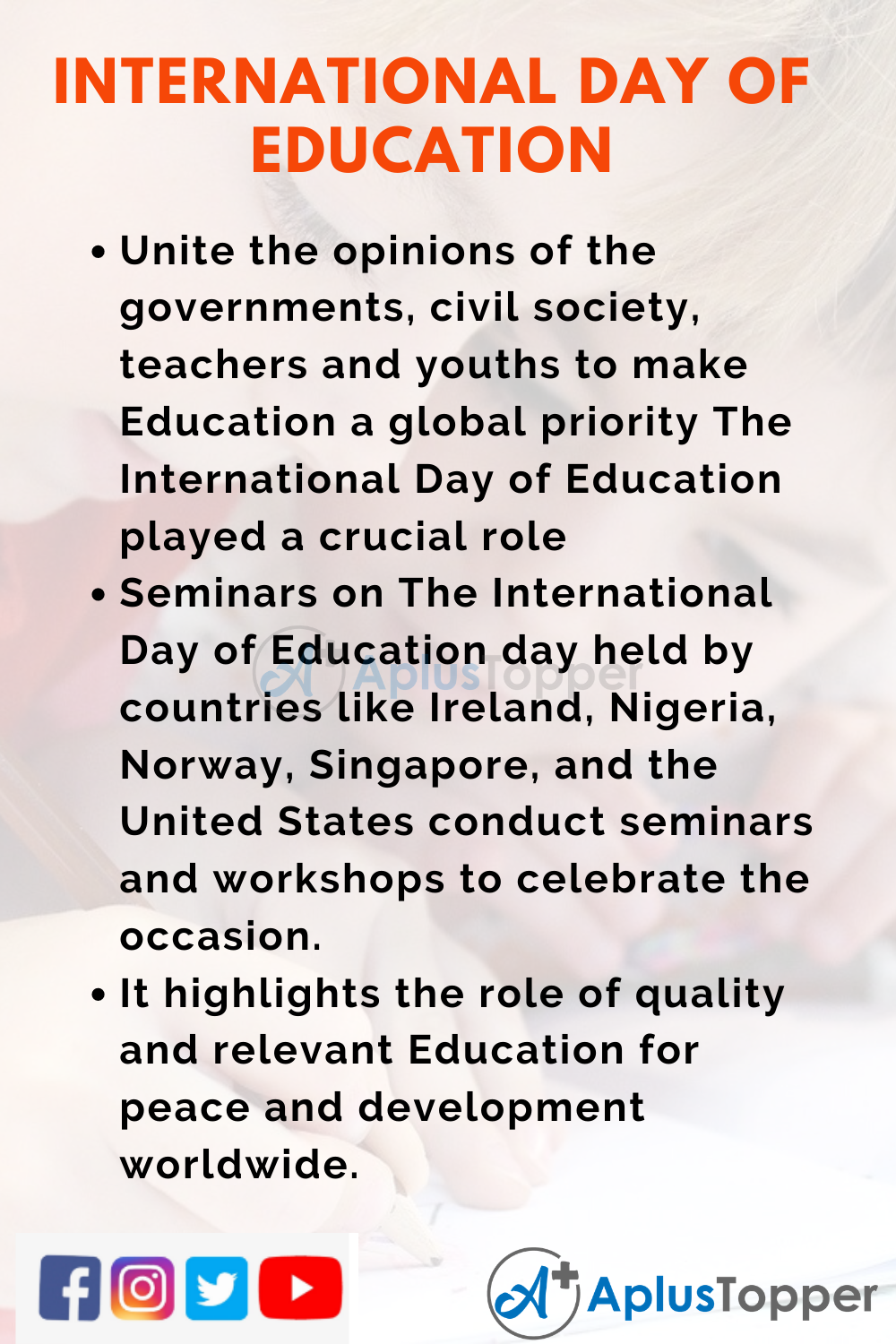 10 Lines on International Day of Education for School Students