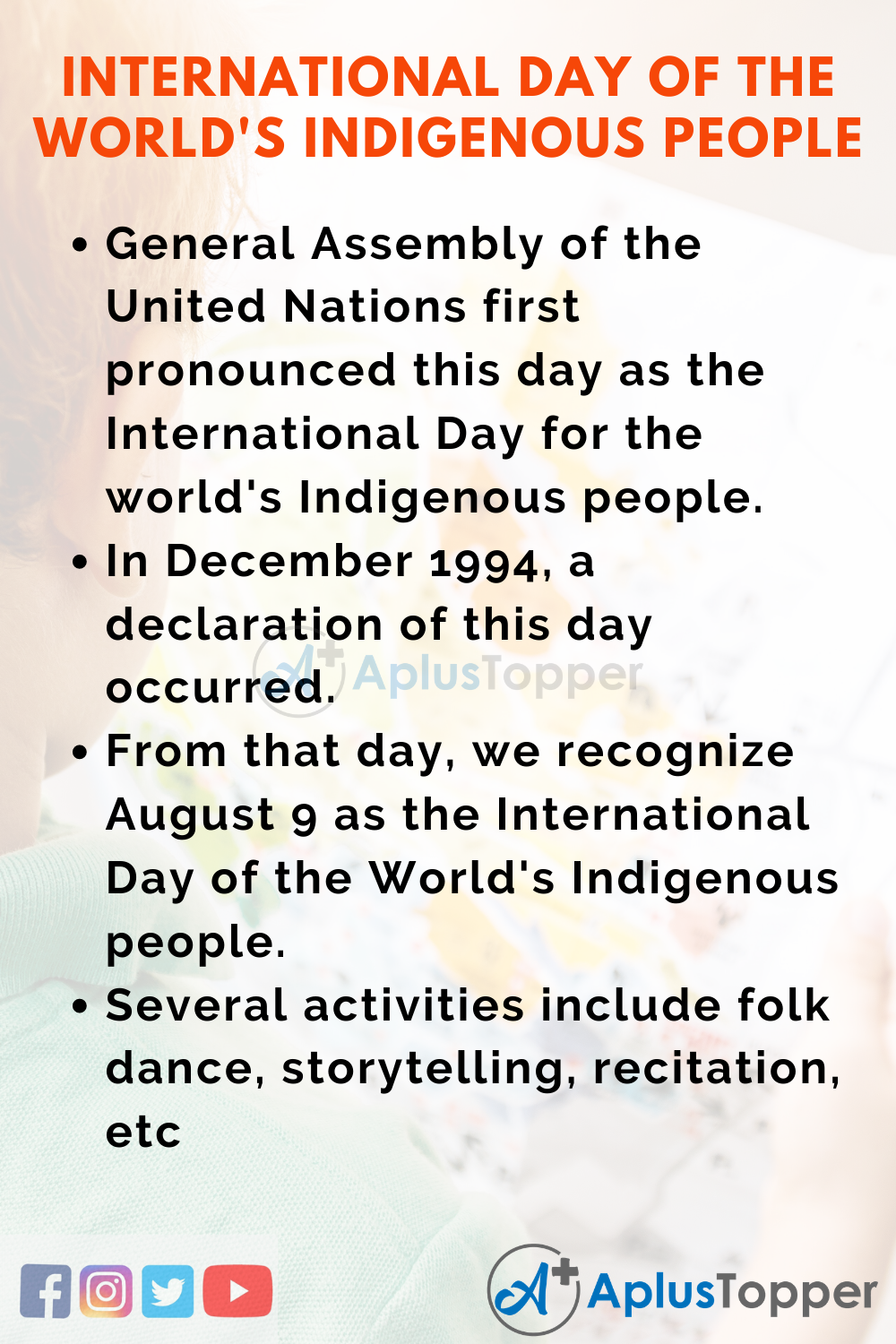 10 Lines on International Day of the World's Indigenous People for Higher Class Students