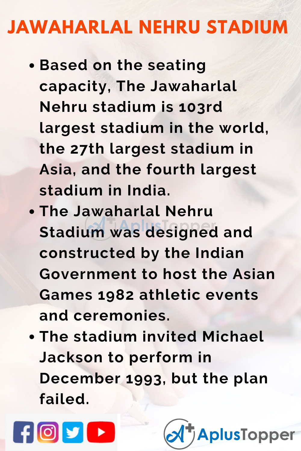 10 Lines on Jawaharlal Nehru Stadium for Higher Class Students