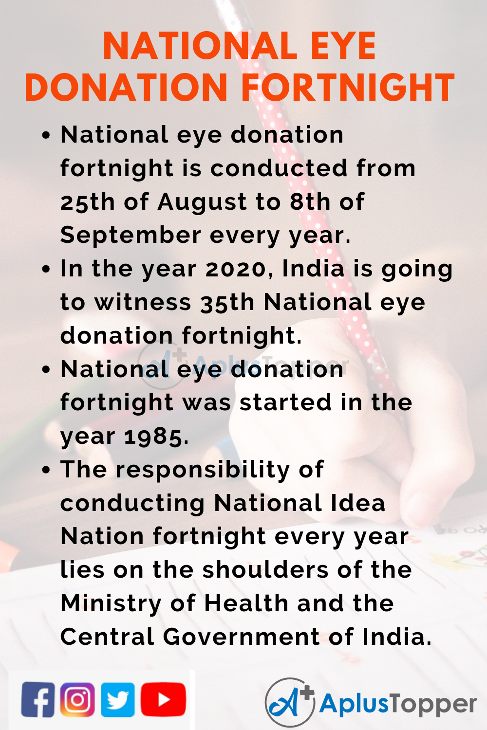 10 Lines on National Eye Donation Fortnight for Kids