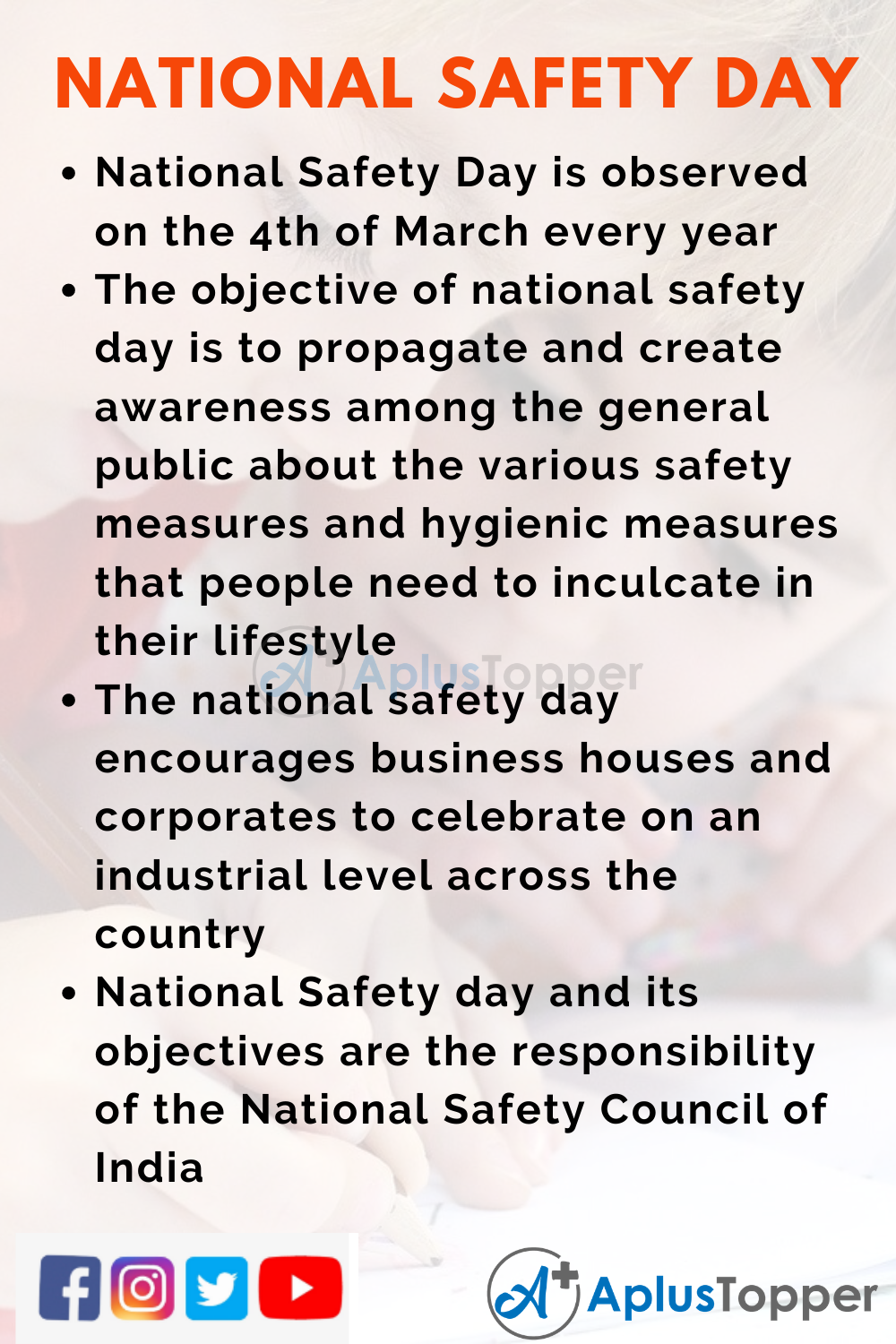10 Lines on National Safety Day for Kids
