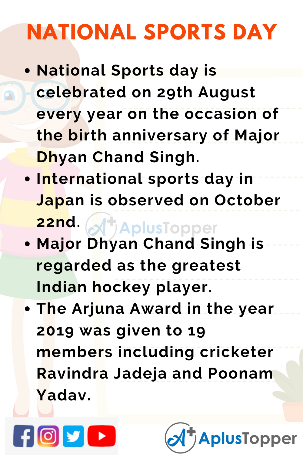 10 Lines on National Sports Day for Higher Class Students