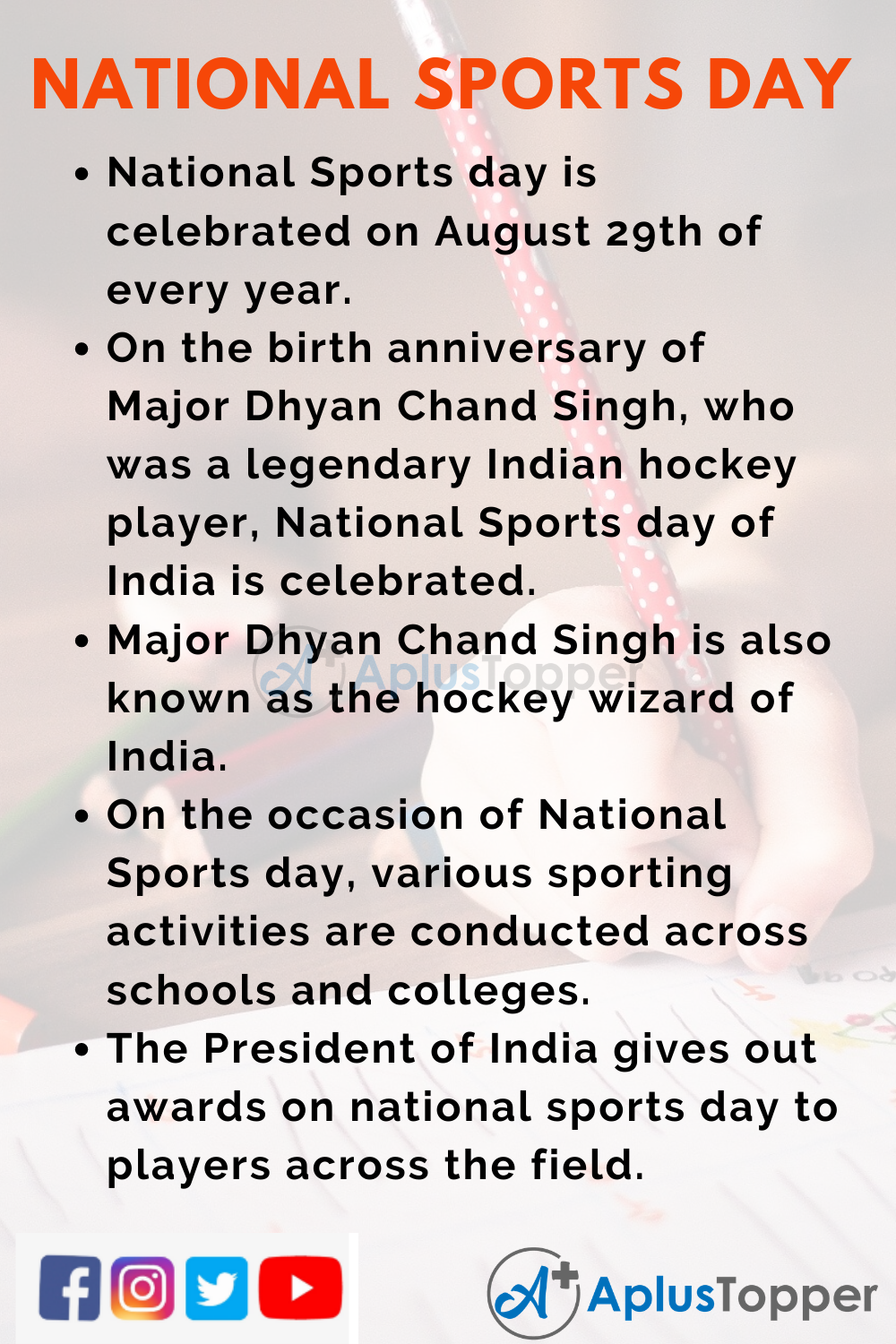 10 Lines on National Sports Day for Kids
