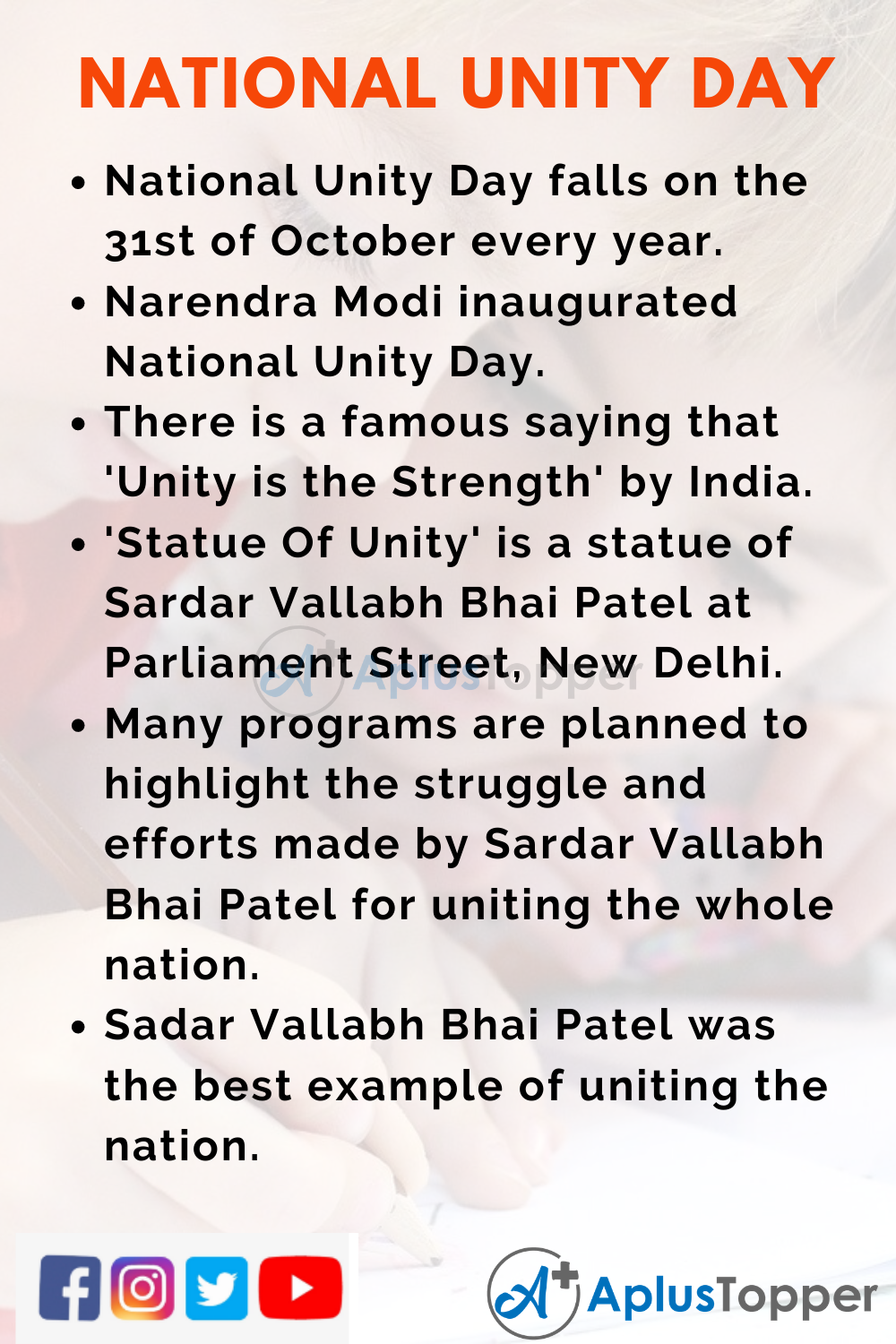 10 Lines on National Unity Day for Higher Class Students