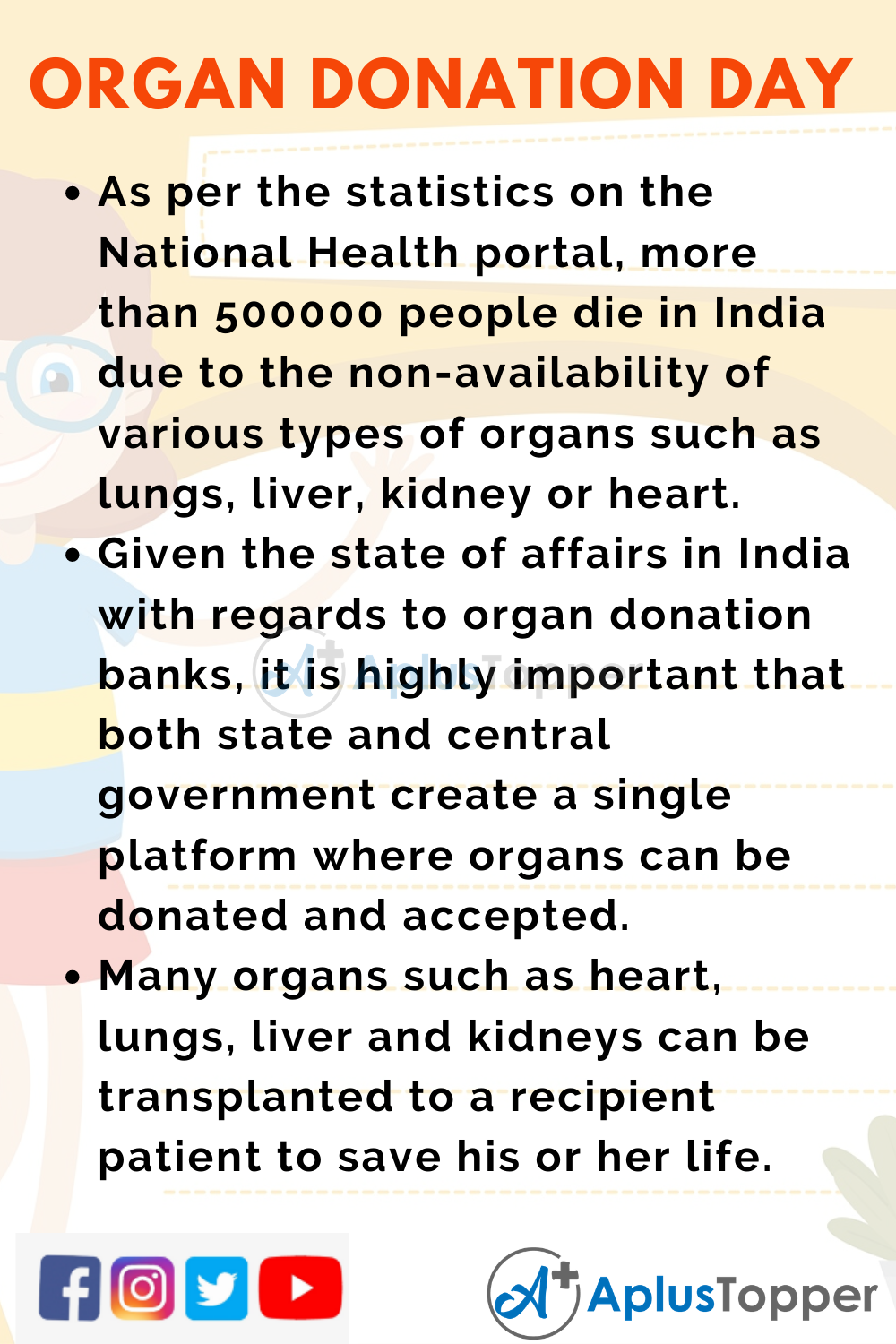 10 Lines on Organ Donation Day for Higher Class Students