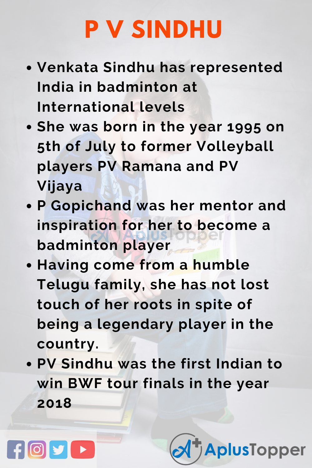 10 Lines on P V Sindhu for Higher Students