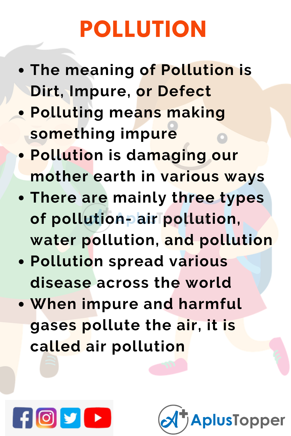 10 Lines on Pollution for Kids