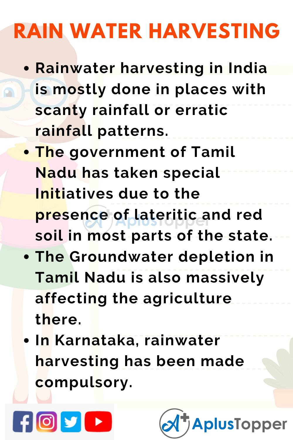 10 Lines on Rainwater Harvesting for Higher Class Students