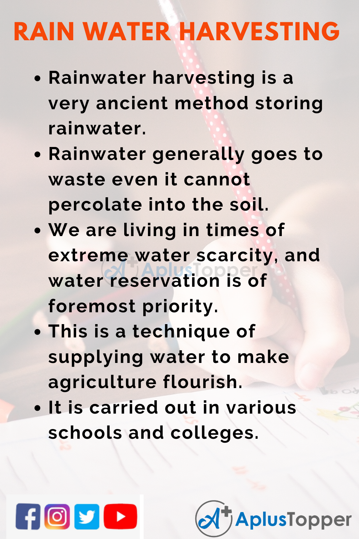 10 Lines on Rainwater Harvesting for Kids