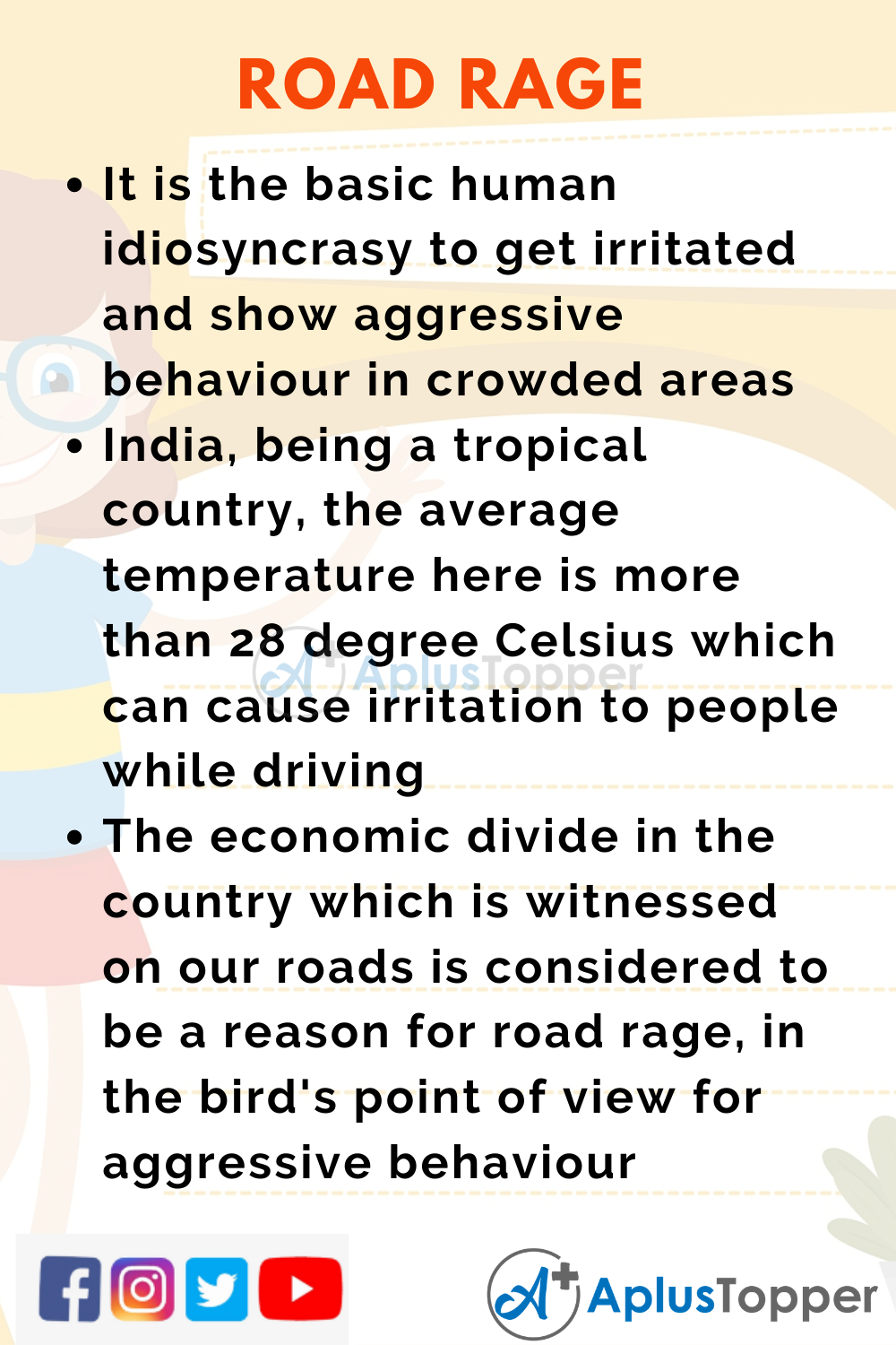 10 Lines on Road Rage for Higher Class Students