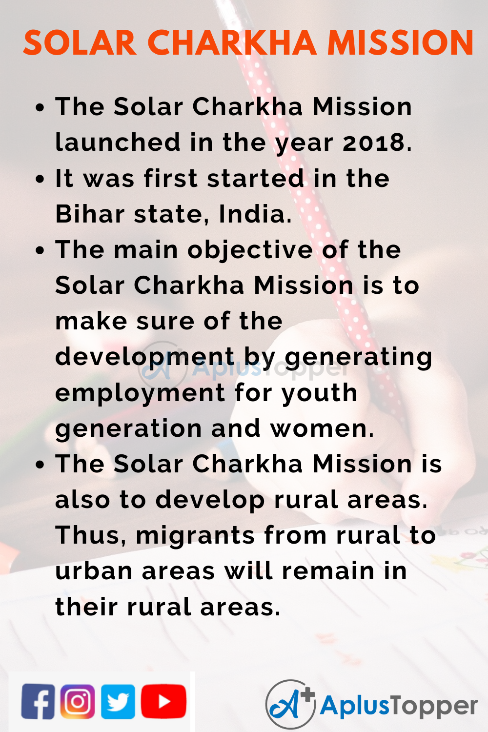 10 Lines on Solar Charkha Mission for Higher Class Students