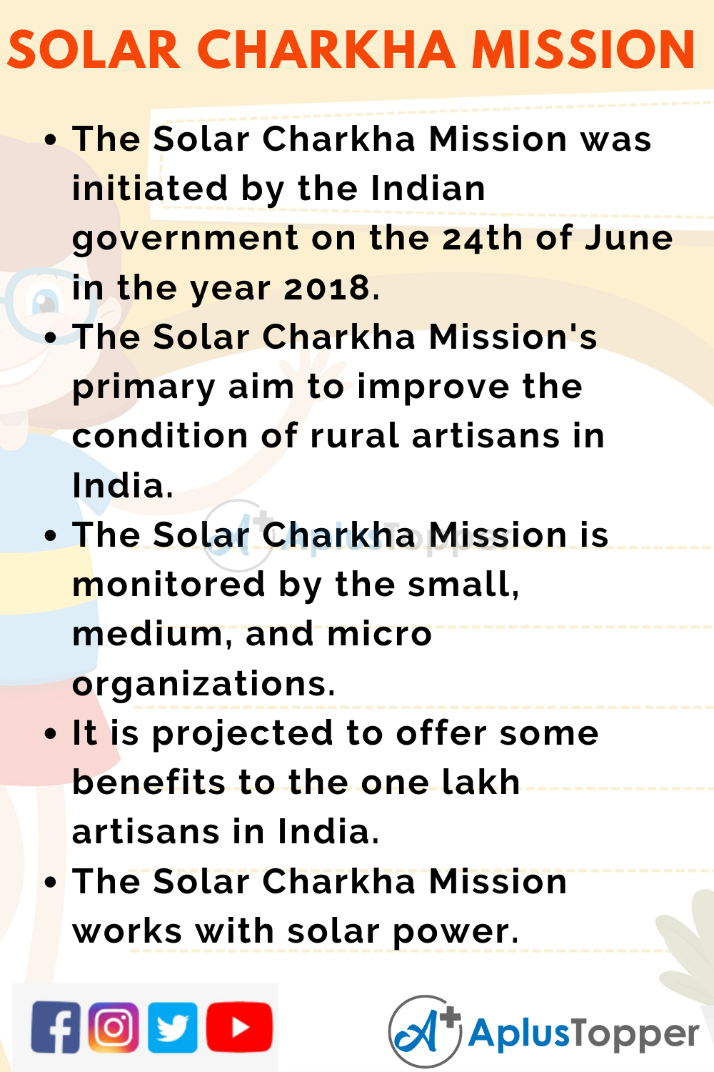 10 Lines on Solar Charkha Mission for Kids