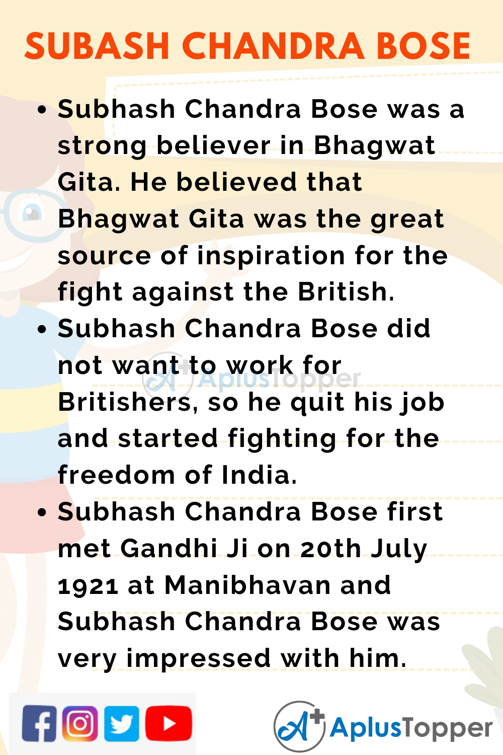 10 Lines on Subhash Chandra Bose for Higher Class Students