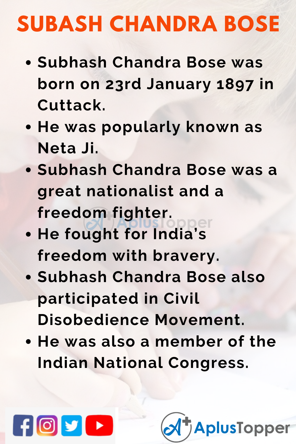 10 Lines on Subhash Chandra Bose for Kids
