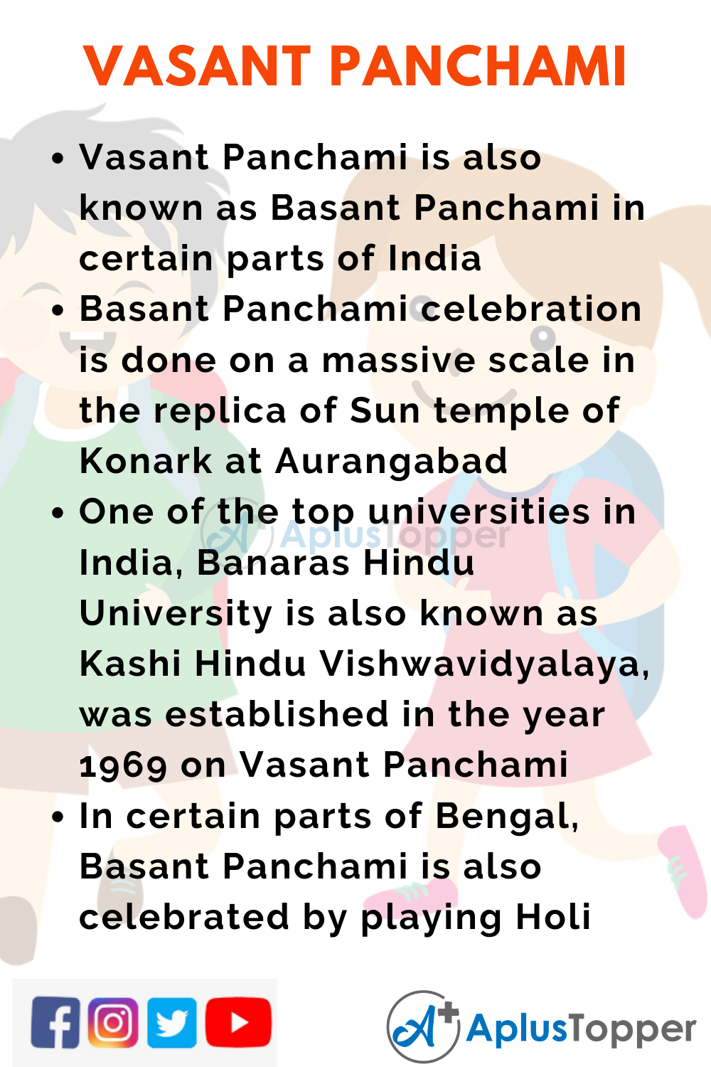 10 Lines on Vasant Panchami for Higher Class Students