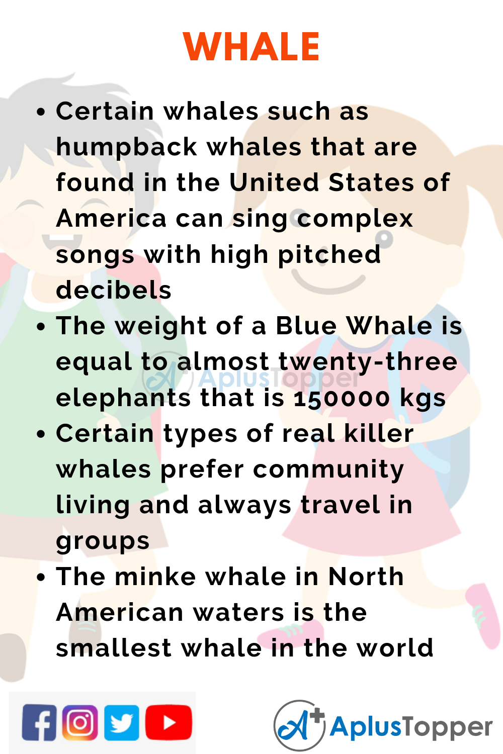 10 Lines on Whale for Higher Class Students