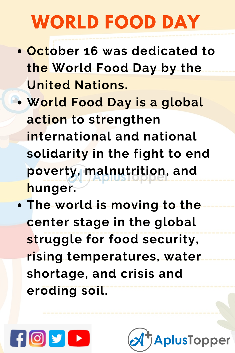 10 Lines on World Food Day for Higher Class Students