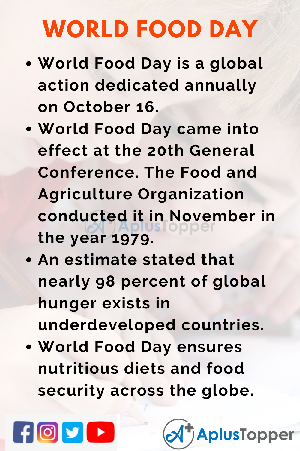 10 Lines on World Food Day for Kids