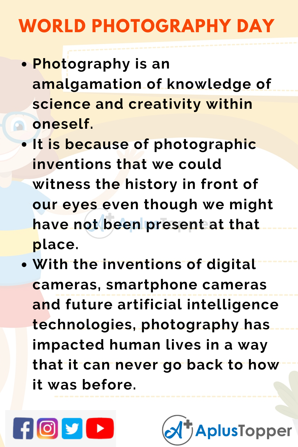 10 Lines on World Photography Day for Higher Class Students