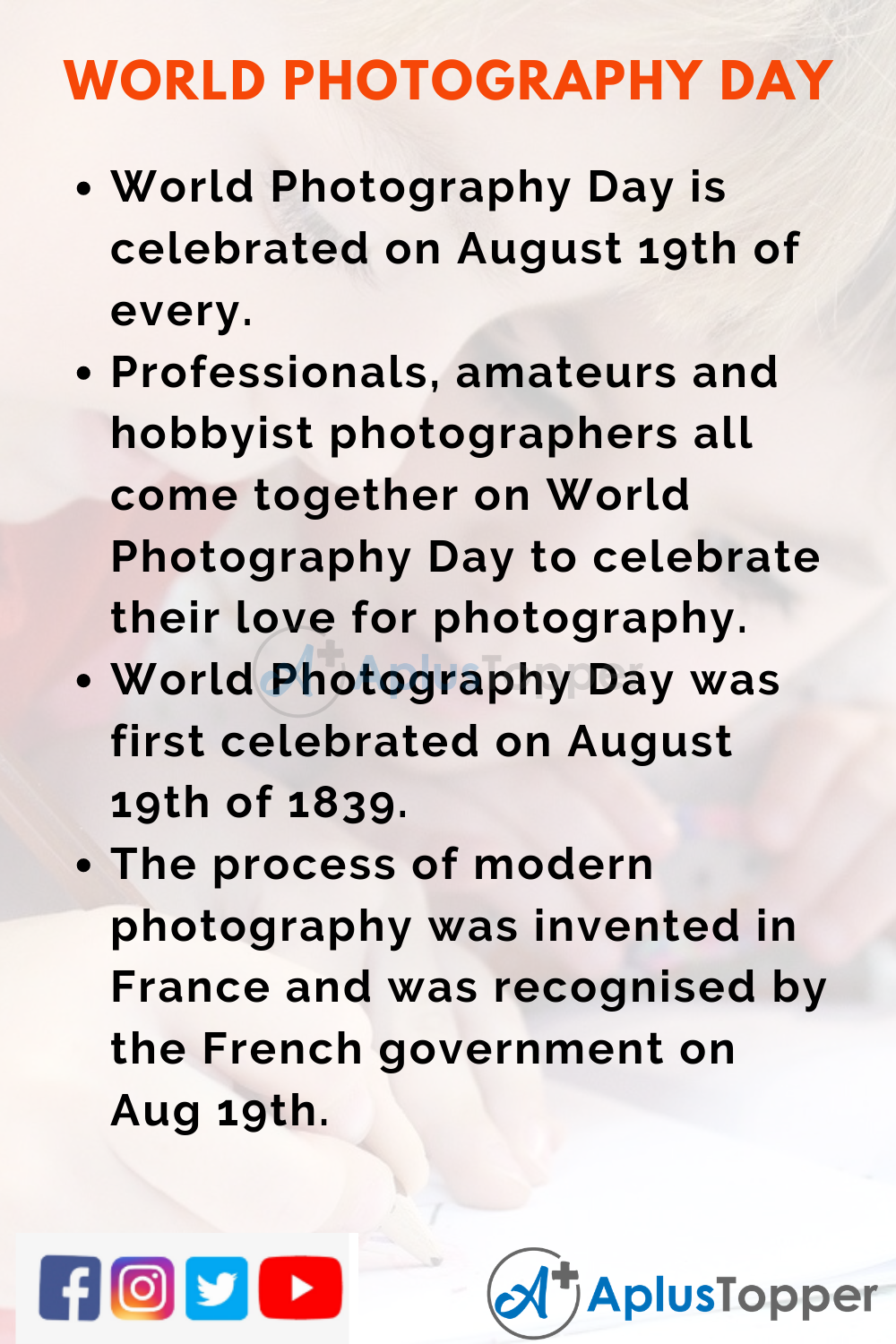 10 Lines on World Photography Day for Kids