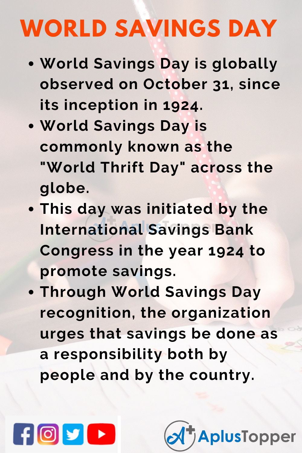 10 Lines on World Savings Day for Kids