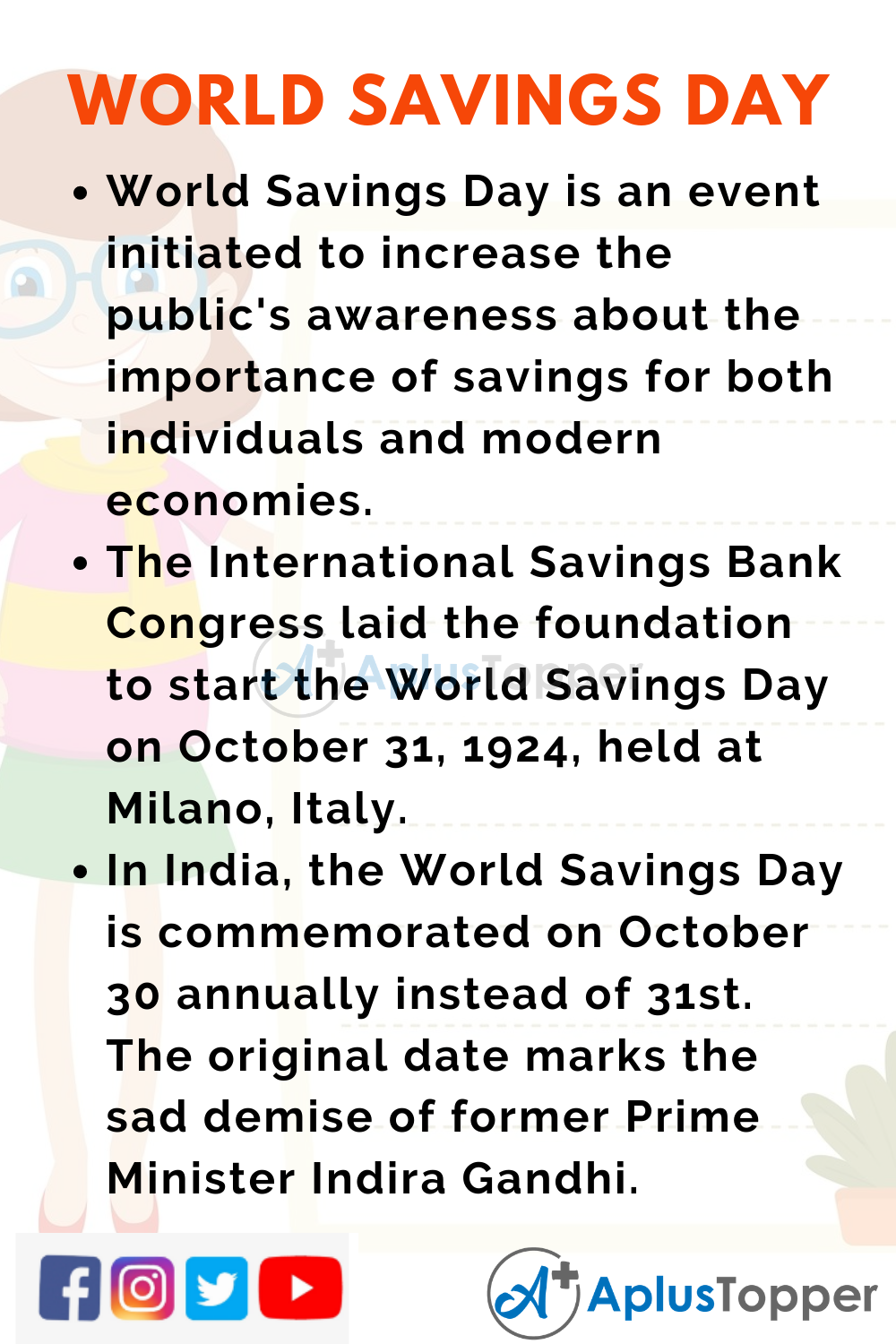 10 Lines on World Savings Day for School Children
