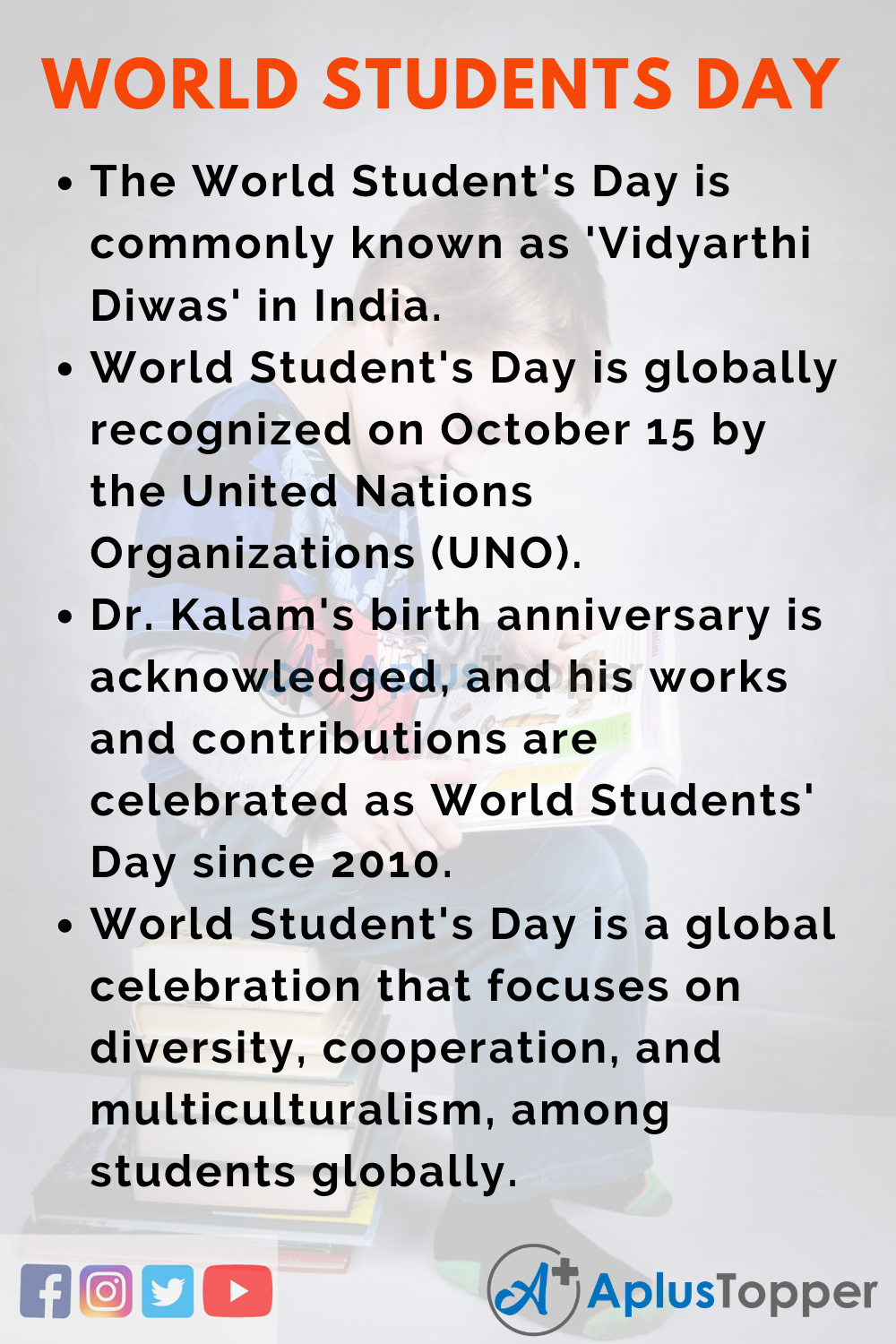 10 Lines on World Student's Day for Higher Class Students